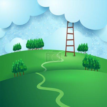 Illustration for Fantasy landscape with ladder, vector eps10 - Royalty Free Image