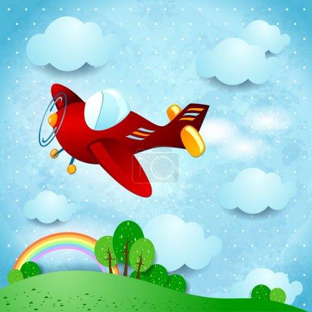 Illustration pour Avion rouge, illustration vectorielle eps10 - image libre de droit