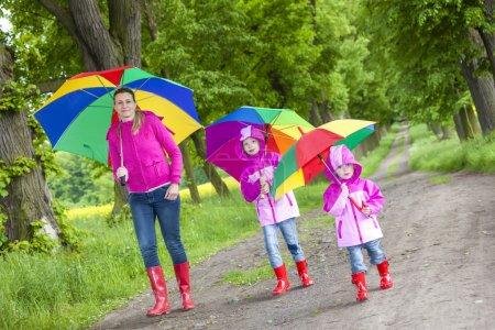 Family with umbrellas