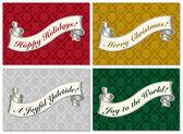 Vector Christmas Scroll Frame Set