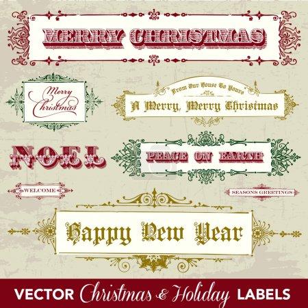 Illustration pour Ensemble d'étiquettes de Noël vintage vectoriel. Facile à modifier. Parfait pour étiquettes et étiquettes . - image libre de droit