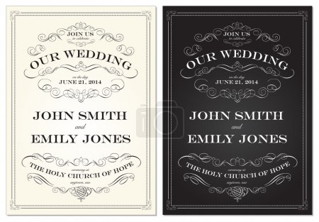 Vector Old Fashioned Wedding Frame Set Print