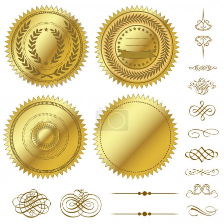 Vector Gold Seals Set