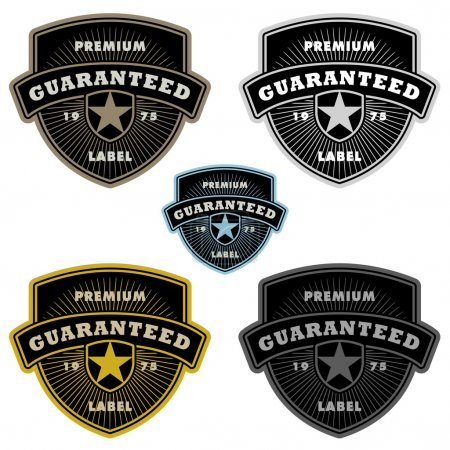 Illustration for Easy to edit! Clipart badge and frame set. Great for guarantees and shields - Royalty Free Image