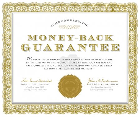 Illustration for Easy to edit! Vector money back guarantee certificate. Great for diplomas, certificates, and awards.Vector file is an EPS 10 file. Vector editing features are only available with the EPS file. Watermarks are removed from the image you get after purch - Royalty Free Image