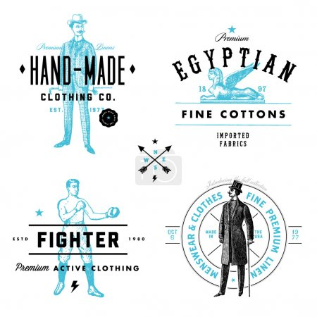 Illustration for Easy to edit! Set of retro vector clothing labels and badges. Great for logos and labels.Vector file is an EPS 10 file. Vector editing features are only available with the EPS file. Watermarks are removed from the image you get after purchasing. - Royalty Free Image