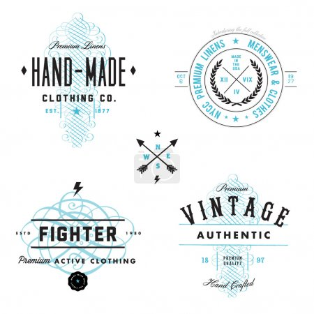 Photo for Easy to edit! Clipart vintage badge and label templates. Great for packaging, and retro designs.Vector file is an EPS 10 file. - Royalty Free Image
