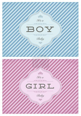 Vector Boy and Girl Striped Birth Announcment Set