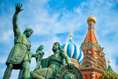 Monument to Minin and Pozharsky on the Red Square in Moscow Russ