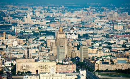 Photo for Day-time aerial view of Moscow, Russia. The building of the Ministry of Foreign Affairs and Cathedral of Christ the Saviour in the centre. - Royalty Free Image
