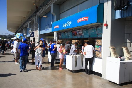 Fans at Los Angeles Dodger Stadium concession stan...