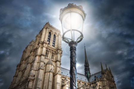 Street light on the background of the Cathedral of Notre Dame. P