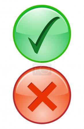 Illustration pour Oui Non Cocher Croix Droite Faux accepter le déclin Icône Illustration - image libre de droit