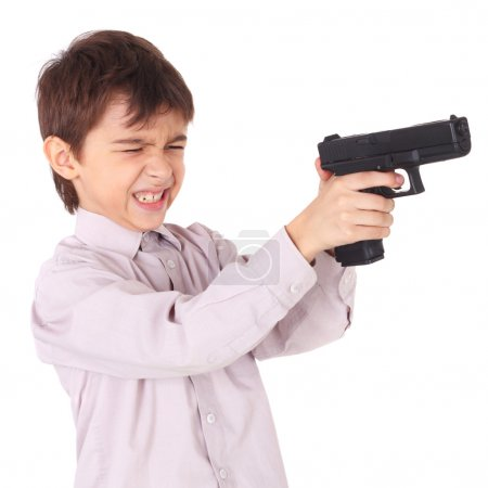 Photo for Cute little boy playing with the pistol - Royalty Free Image