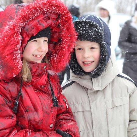 Children outdoors in winter