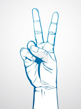 Illustration for Hand in V sign, for victory or number two - Royalty Free Image