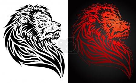 Illustration for Lion head tribal tattoo, for emblem, decorative elements - Royalty Free Image