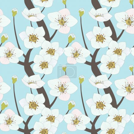 Illustration for Vector seamless pattern, illustration of blooming tree - Royalty Free Image