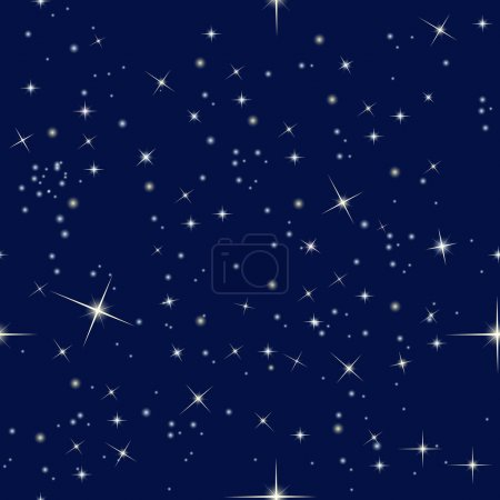 Illustration for Seamless pattern with night sky and stars - Royalty Free Image