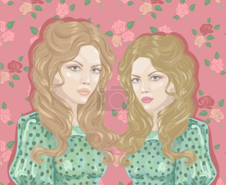 Illustration for Twin girl, vintage vector illustration - Royalty Free Image