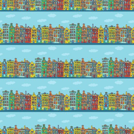 Illustration for Seamless sketchy amsterdam holland background. Rows of old houses - Royalty Free Image