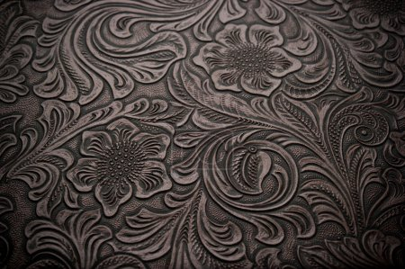 Background with Floral Engraved Leather