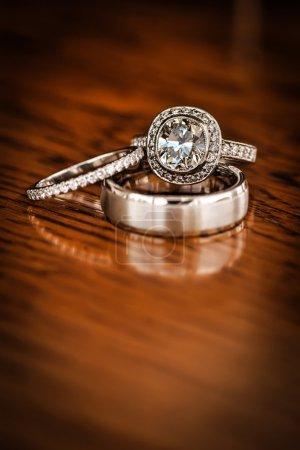 Bride and groom diamond wedding rings