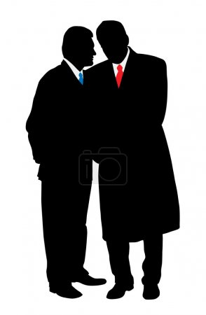 Illustration for Two businessmen talking secretly about a business plan. Isolated white background. EPS file available. - Royalty Free Image