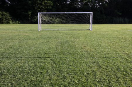 Photo for A soccer net with shot in bright sunlight with trees in the background. - Royalty Free Image