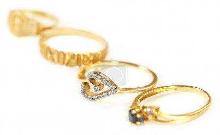Four engagement rings with selective focus