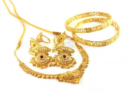Photo for Wedding gold necklace with earrings and bracelets of Indian subcontinents - Royalty Free Image