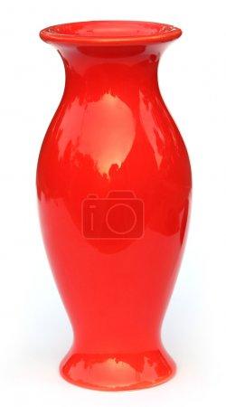 Red flower vase