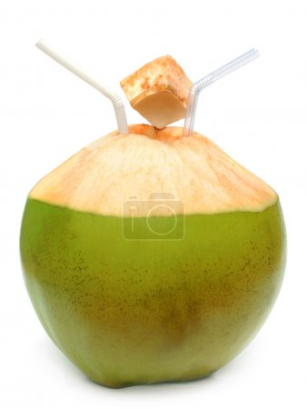 Green coconut with pipes