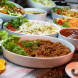 Dishes with various salads in buffet restaurant...