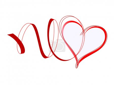 Illustration for Heart with ribbons. Red design element - Royalty Free Image