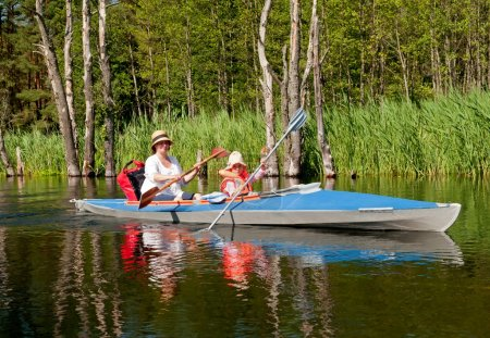 Mother and daughter paddling
