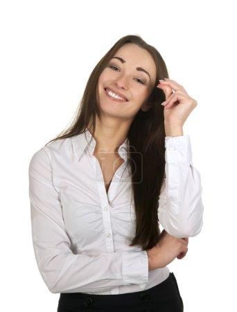 Photo pour Femme d'affaires heureuse claque des doigts - image libre de droit