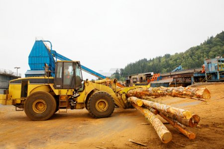 Photo pour Exploitation forestière Chariot élévateur ou déménageur travaillant dans une scierie - image libre de droit