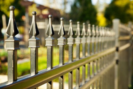 Pointed metal fence perspective