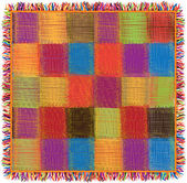 Colorful checkered quilt gingham plaid with fringe