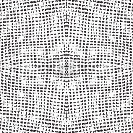 Grunge checkered seamless black and white geometric pattern