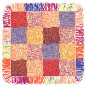 Grunge wavy colorful quilt weave plaid with fringe