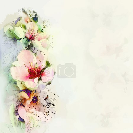 Illustration for Greeting floral card with bright spring flowers on haze background in pastel colors - Royalty Free Image