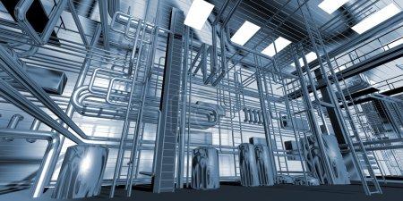 Photo pour Modèle tridimensionnel de la salle industrielle abstraite - image libre de droit