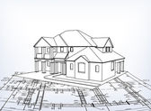 3d house technical draw Vector architecture illustration