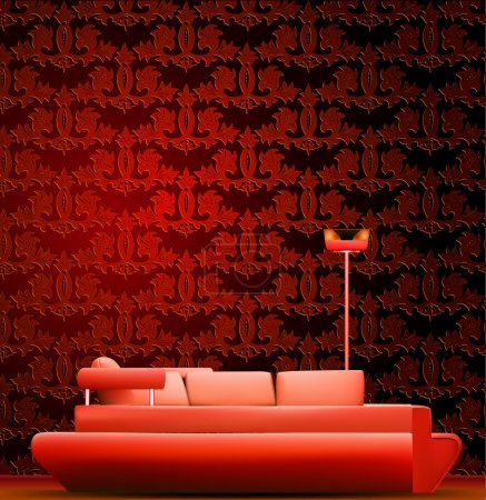 Photo for Interior of a room with sofa and red wallpaper. Vector illustration - Royalty Free Image