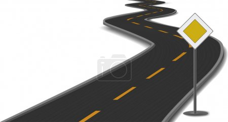 Vector illustration of road with main-road sign