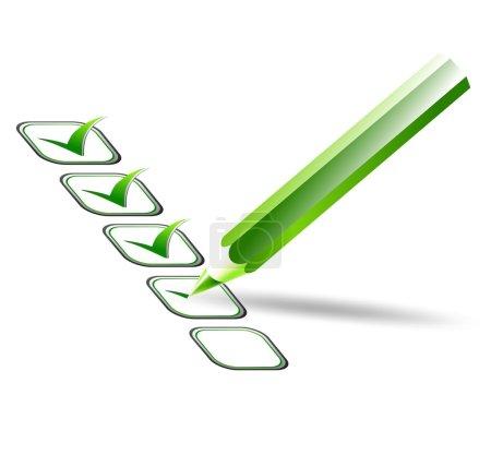 Illustration pour Illustration de la liste de contrôle et des marques vertes - image libre de droit