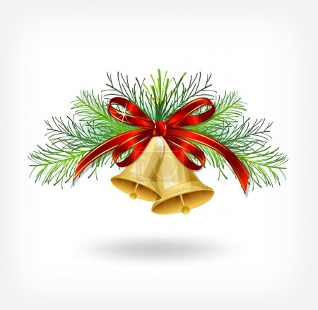 Illustration for Christmas bells with christmas tree decorations. Vector - Royalty Free Image