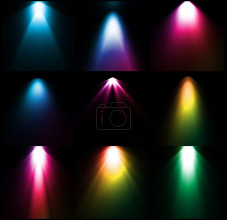 Colorful light sources. Vector set